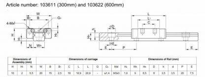 Liukukisko 600mm MakerBeamiin