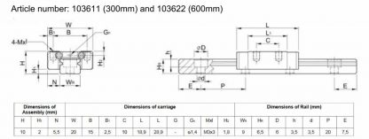 Liukukisko 300mm MakerBeamiin